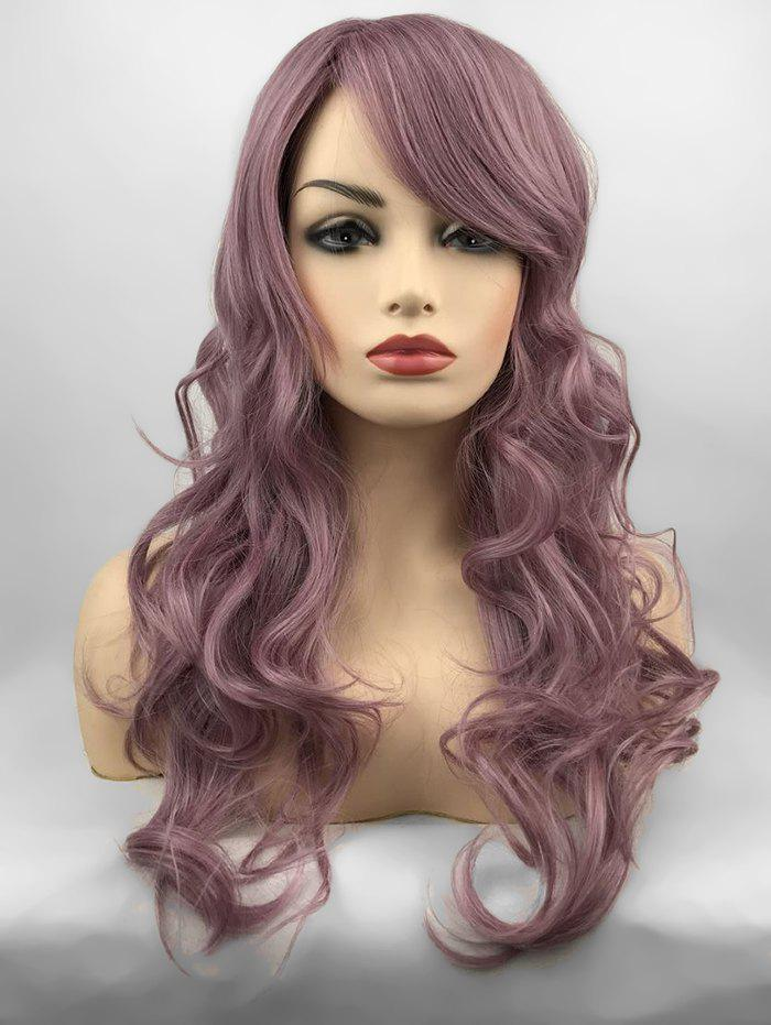 Online Inclined Bang Long Wavy Party Capless Synthetic Wig