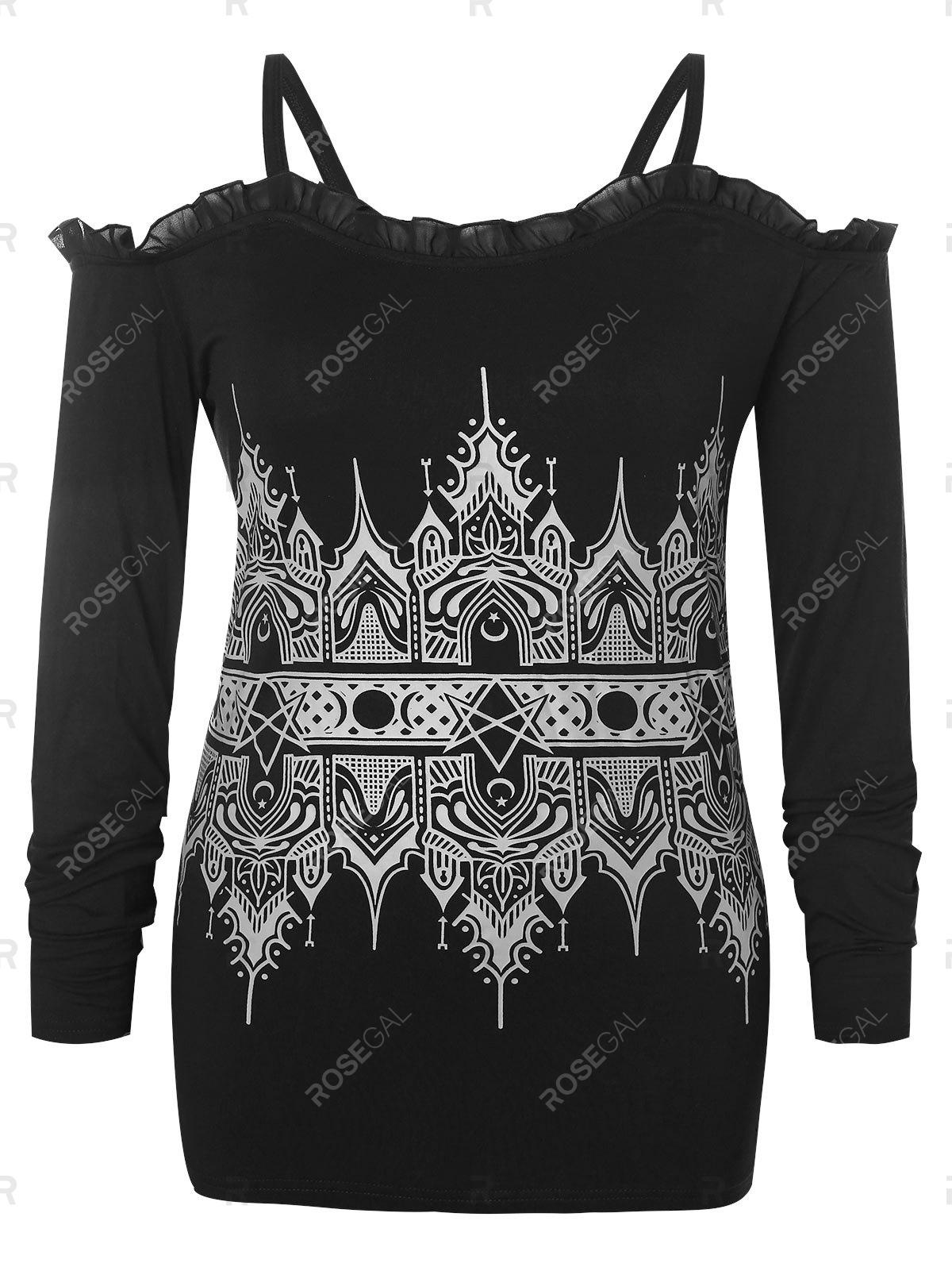 Buy Plus Size Open Shoulder Tribal Print Lace Up Tee