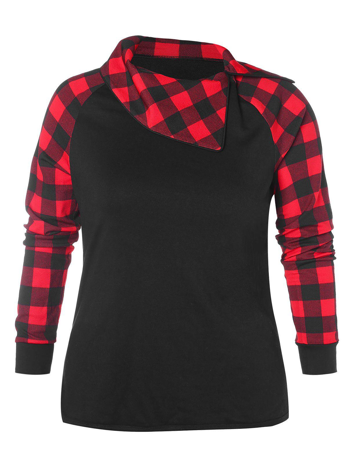 7532458dd5b7b 57% OFF   2018 Plus Size Plaid Raglan Sleeve Sweatshirt In Black 4x ...