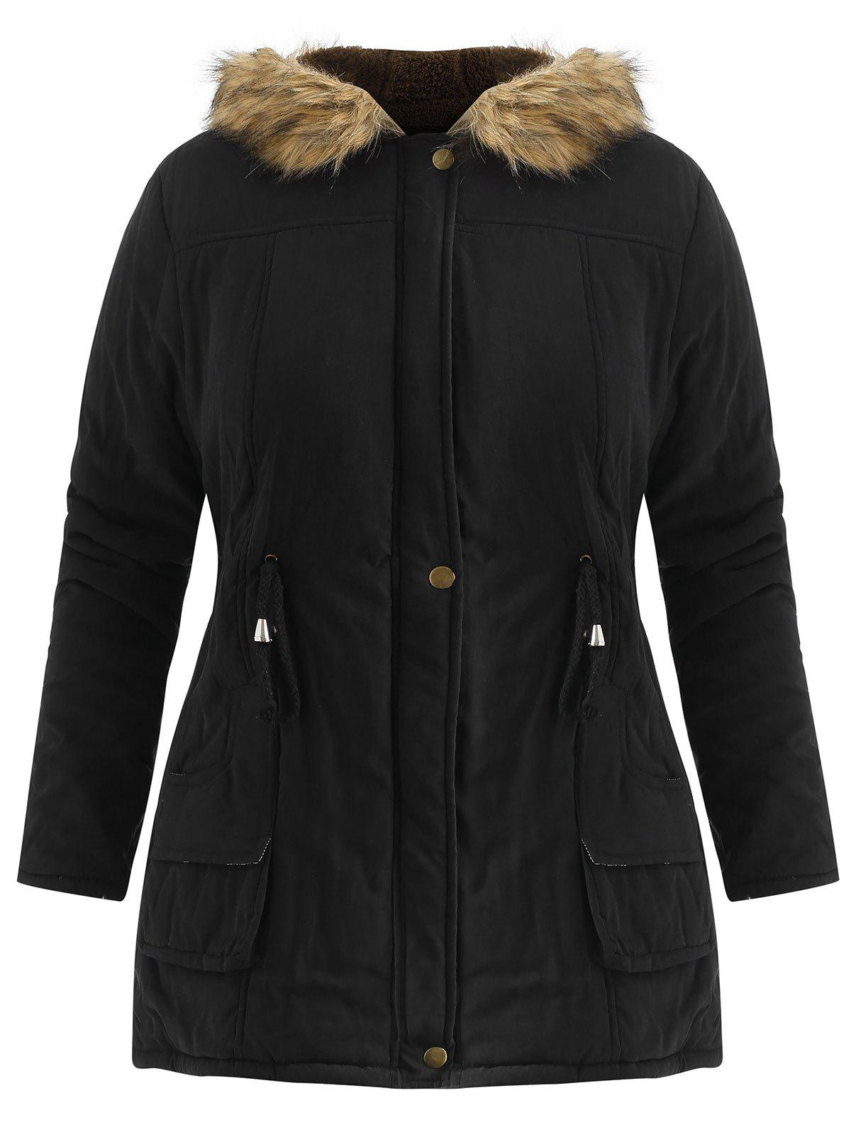 Trendy Plus Size  Drawstring Waist Anorak Coat with Pockets