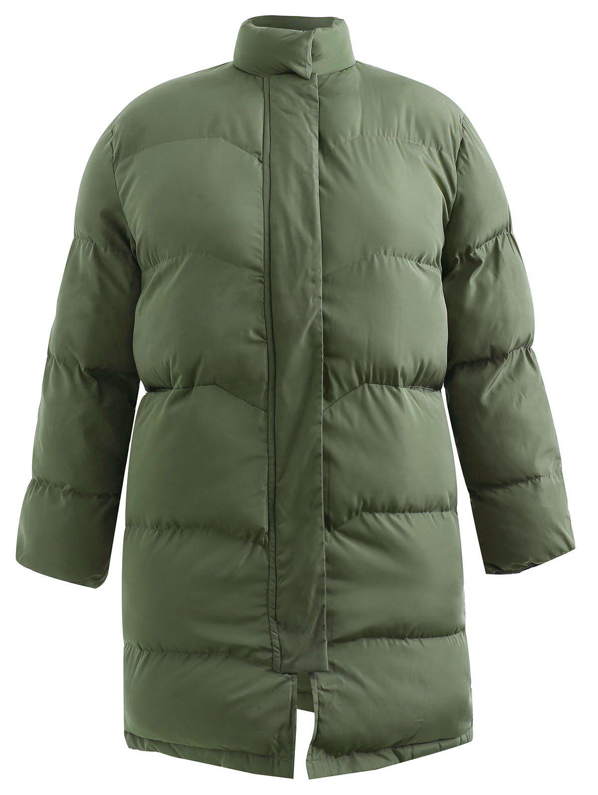 Outfit Plus Size  Longline Padded Coat with Zipper Fly