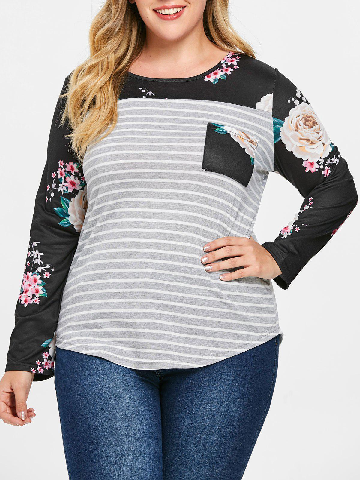 Trendy Plus Size Asymmetric Floral Striped Tee with Pocket