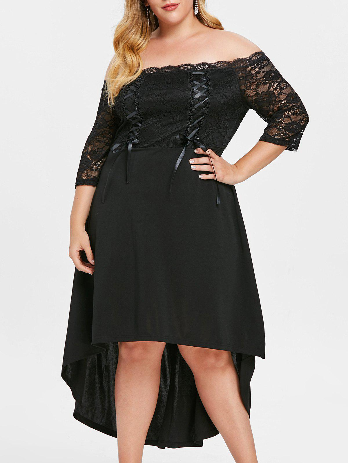 Outfits Plus Size Off Shoulder Lace Up Asymmetric Dress