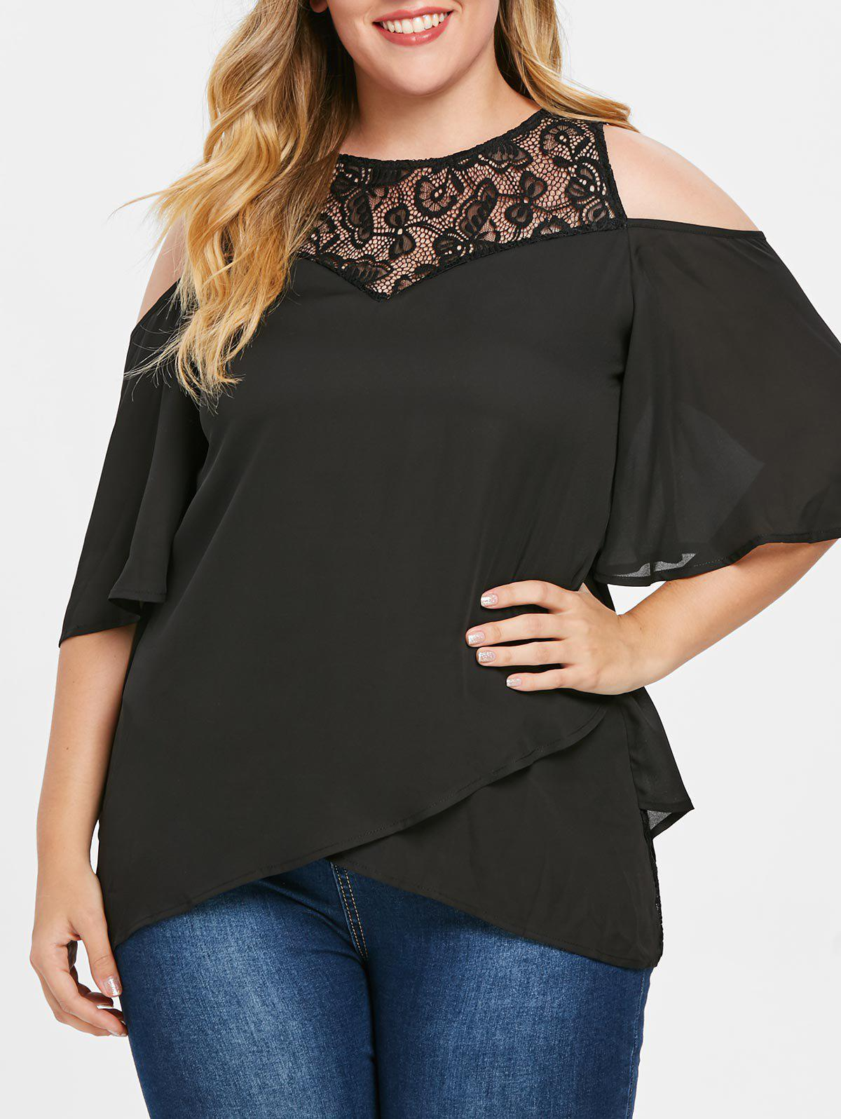 Trendy Plus Size Lace Cold Shoulder Overlap Blouse