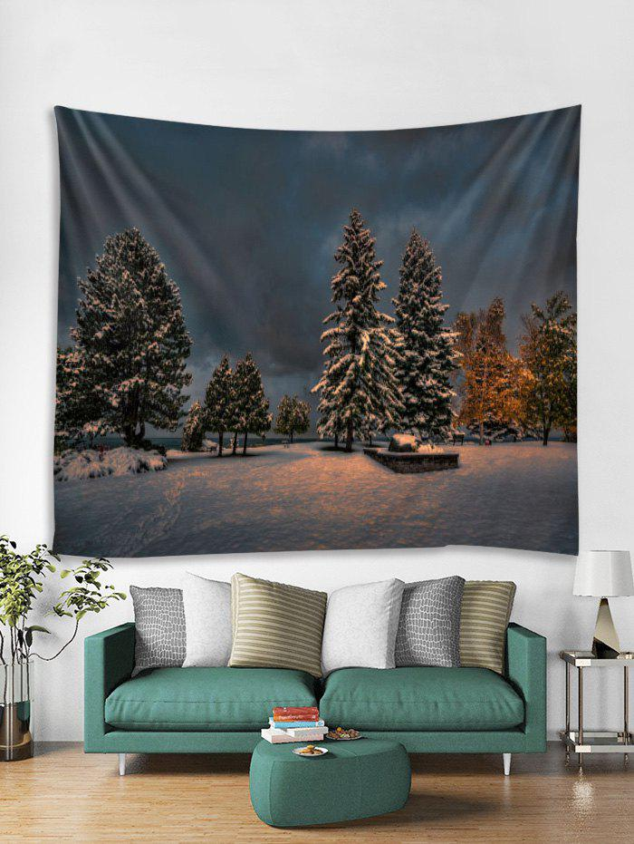 Chic Christmas Snow Tree Print Tapestry Art Decoration