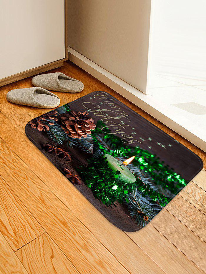 New Christmas Candle Pattern Anti-skid Water Absorption Area Rug