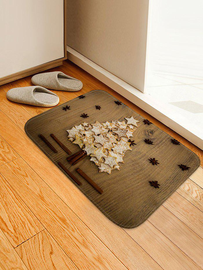 Discount Christmas Stars Tree Print Anti-skid Water Absorption Area Rug