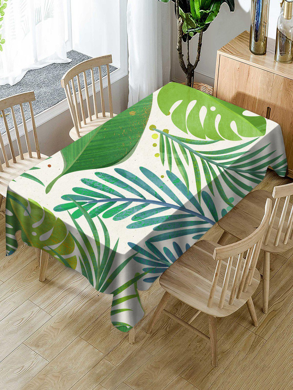 Outfits Palm Leaf Print Fabric Waterproof Tablecloth