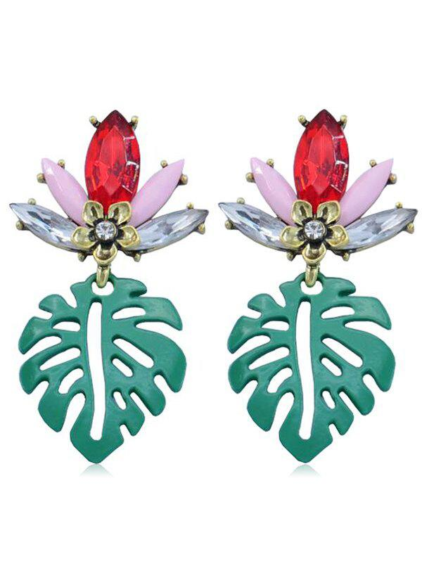 Outfit Rhinestone Floral Leaf Drop Earrings