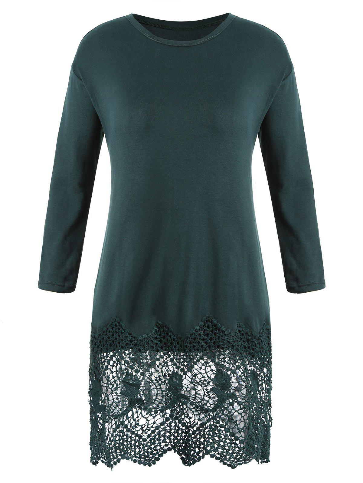 Store Plus Size Crocheted Trim Casual Dress