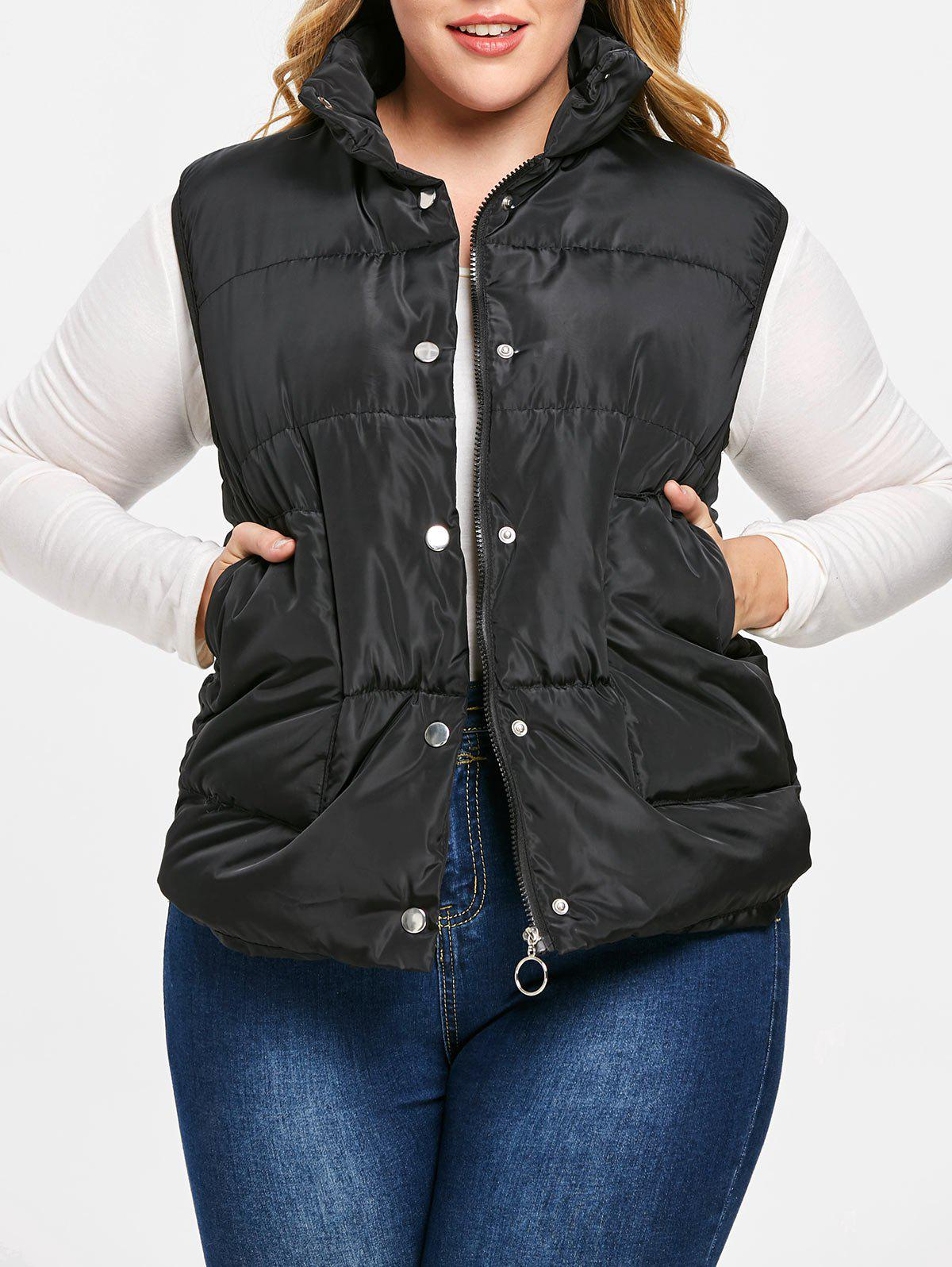 Shop Plus Size Pockets Zipper Fly Quilted Waistcoat