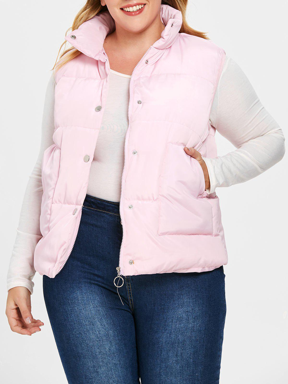 Discount Plus Size Pockets Zipper Fly Quilted Waistcoat