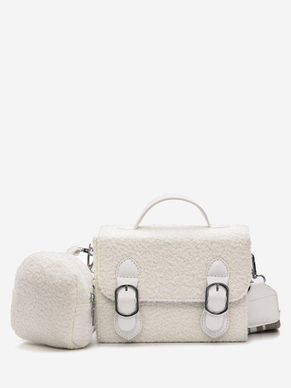 Outfit 2 Pieces Bucket Fluffy Crossbody Bag Set