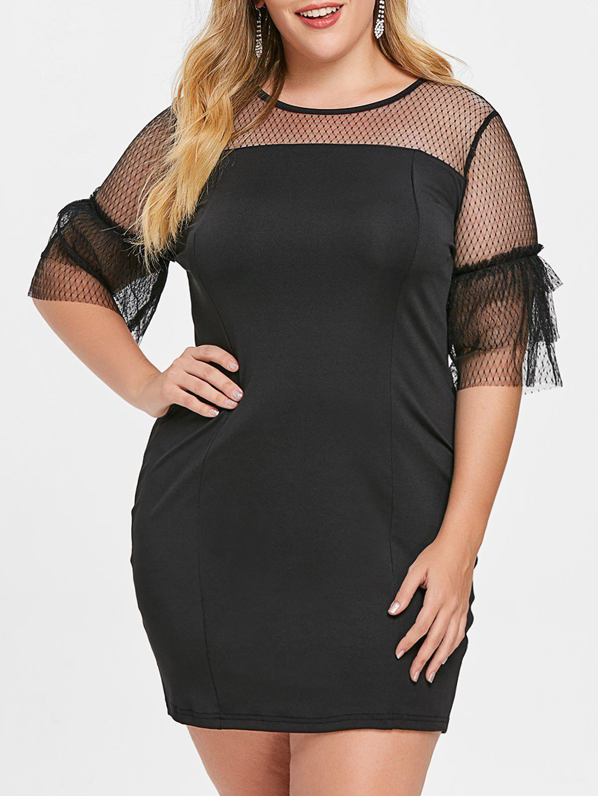 Hot Plus Size Bell Sleeve Mesh Panel Mini Dress