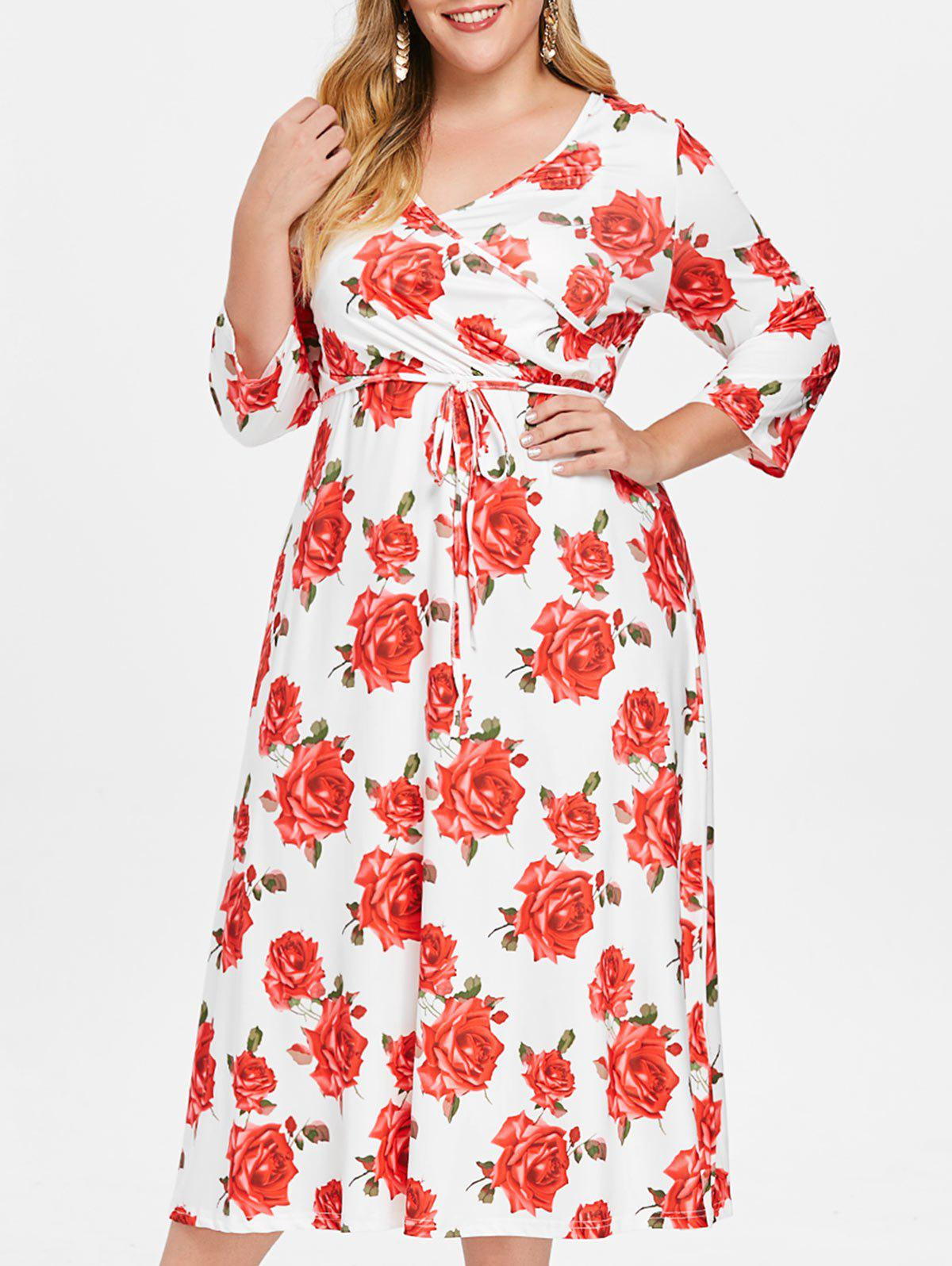 Outfits Floral Print Plus Size Belted Dress