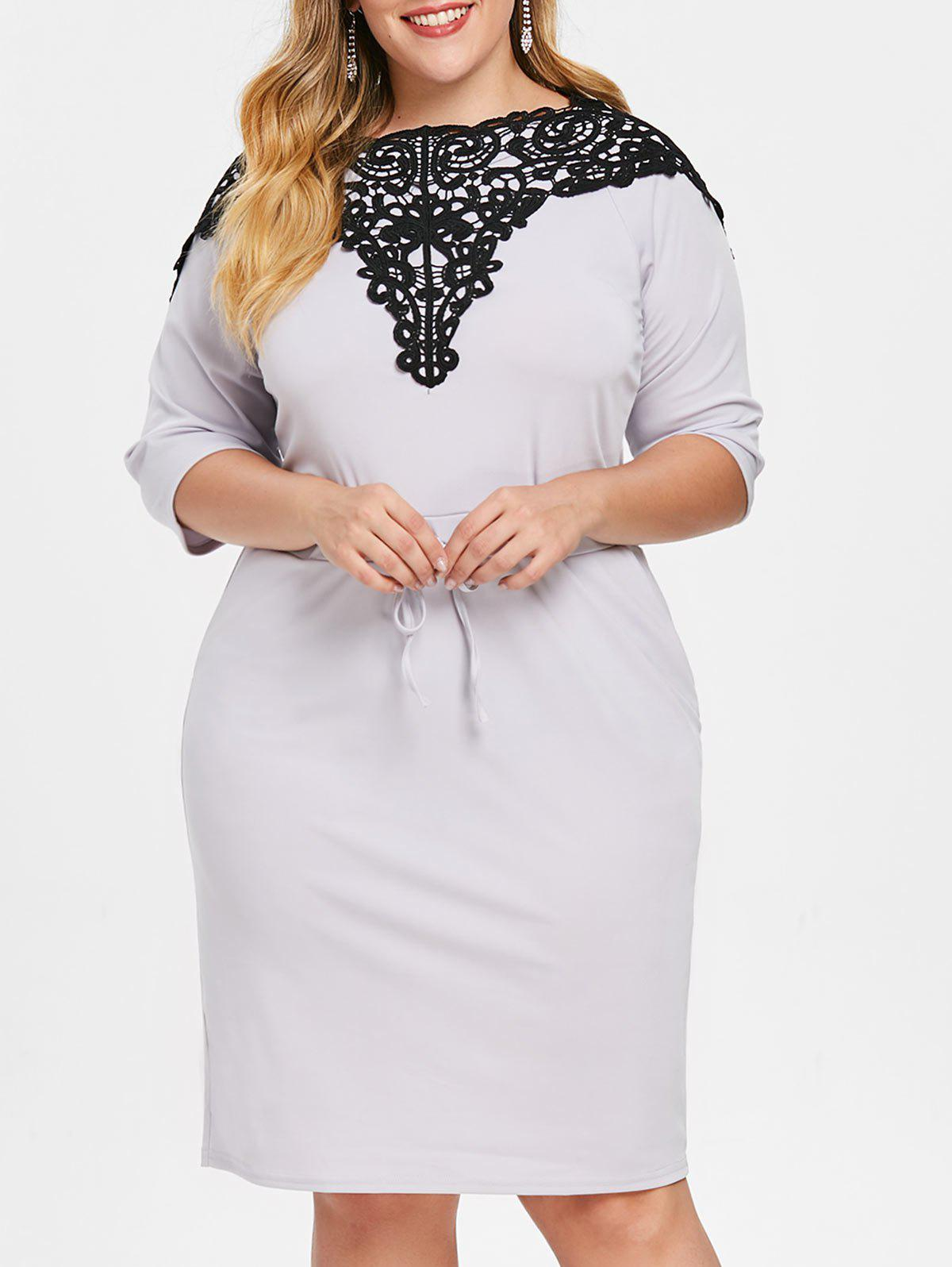 Outfit Applique Plus Size Drawstring Waist Dress