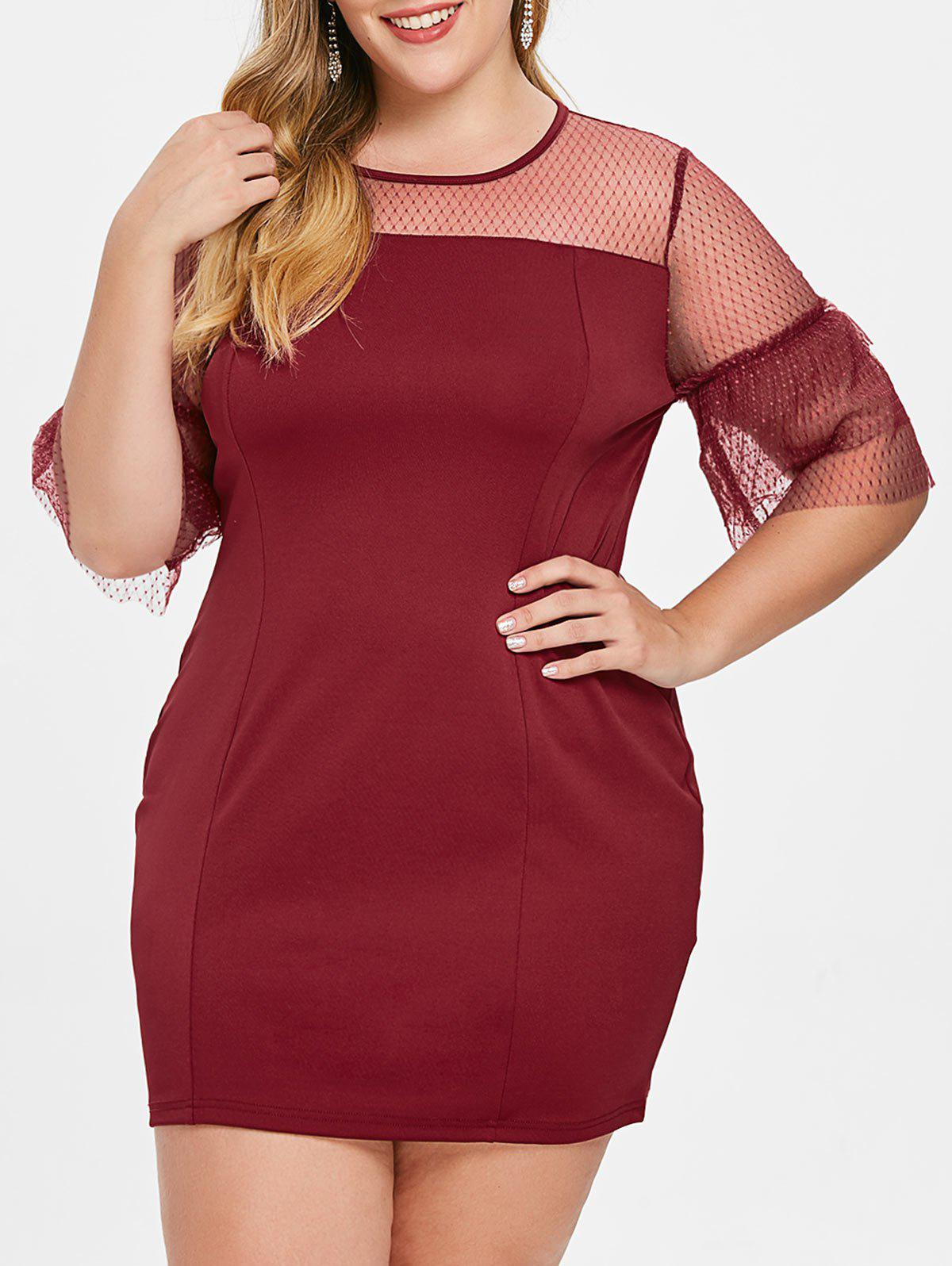 Outfit Plus Size Bell Sleeve Mesh Panel Mini Dress