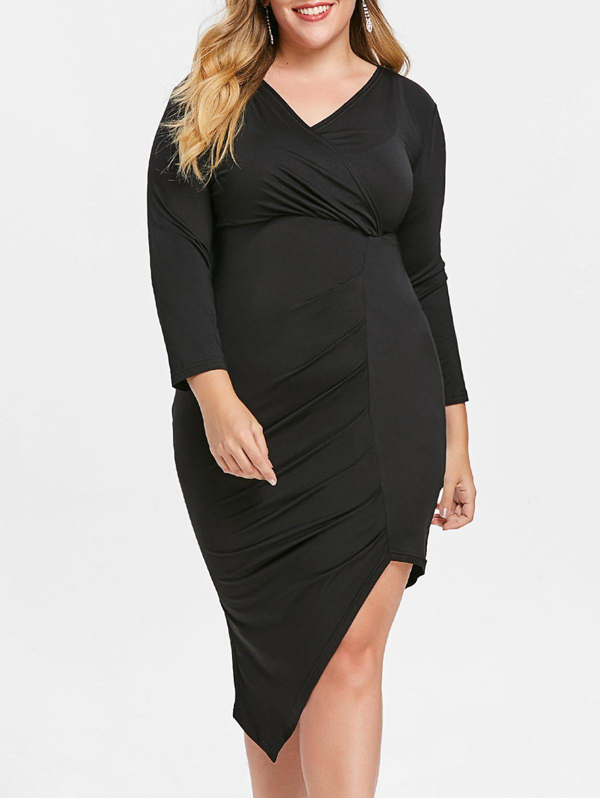 Discount Plunge Plus Size Asymmetrical Dress