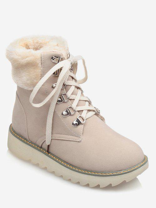 Trendy Plus Size Lace Up Faux Fur Boots