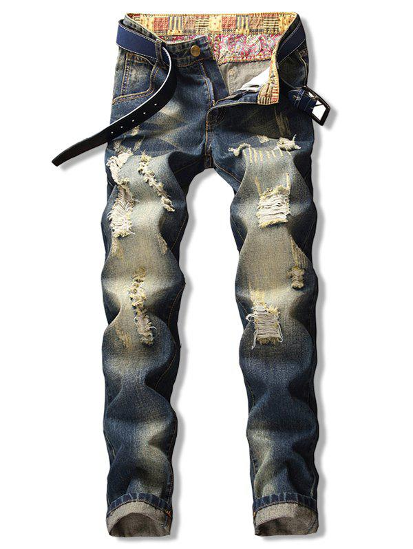 Online Straight Leg Destroyed Zip Fly Jeans
