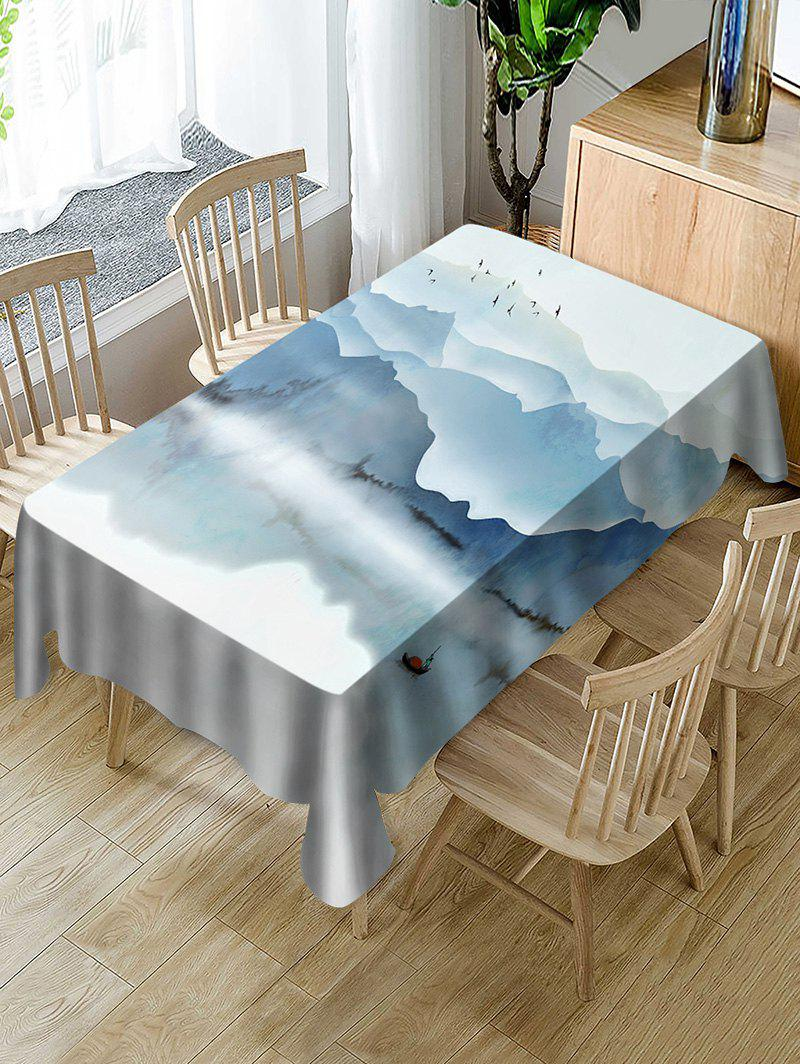 Unique Ink Mountains Print Fabric Waterproof Tablecloth