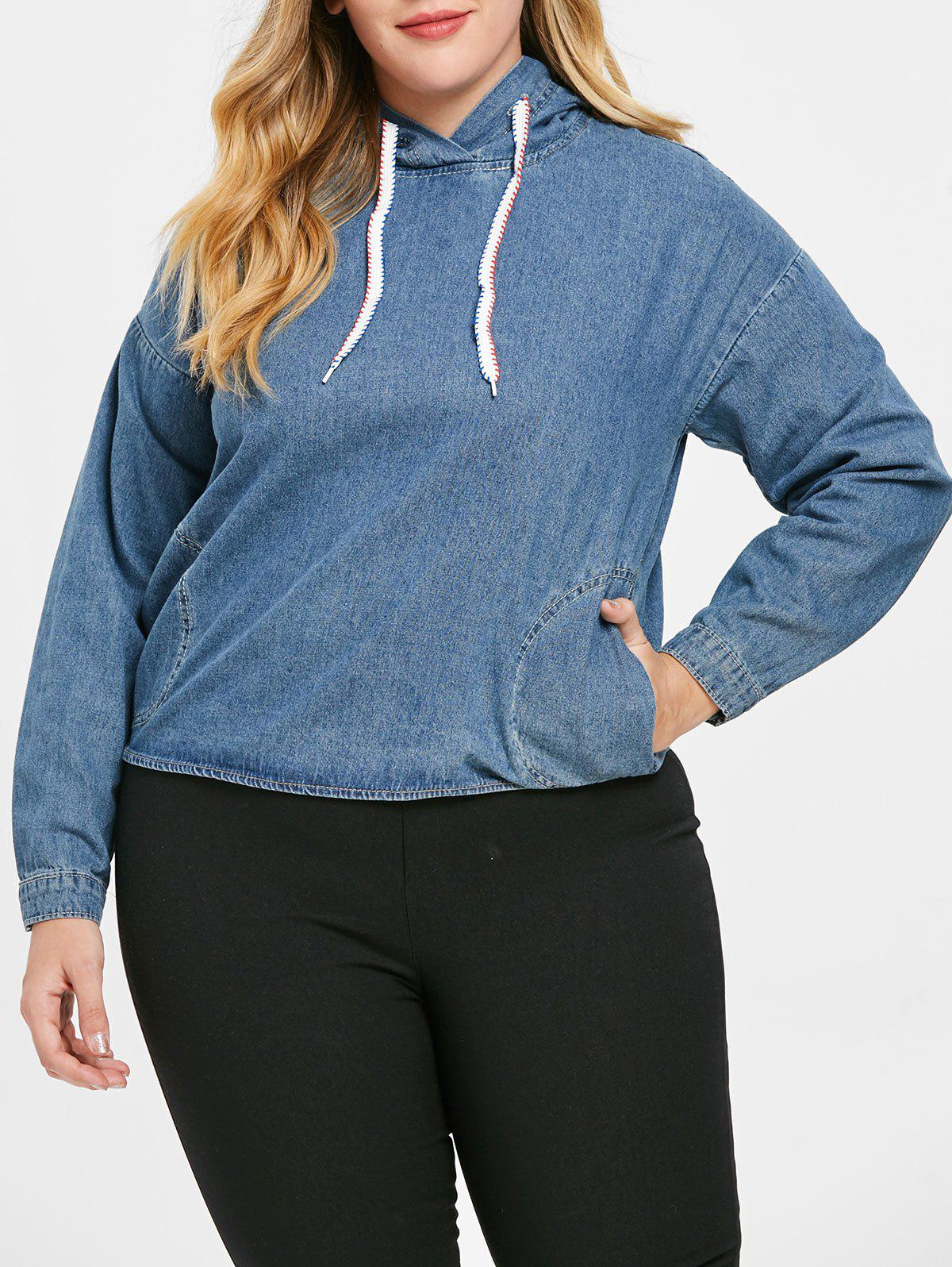 Fashion Plus Size Pullover Denim Hoodie with Pockets
