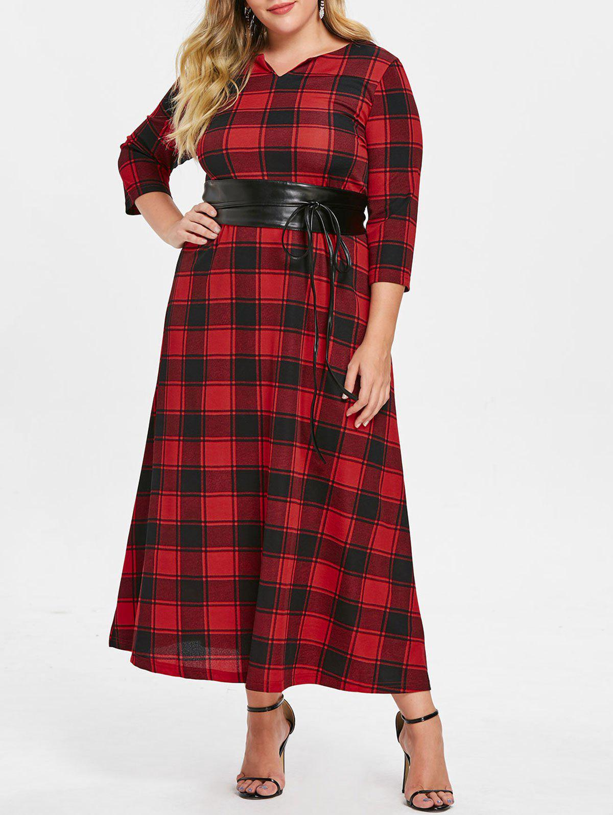 Sale Tartan Plus Size Maxi Dress with Corset Belt