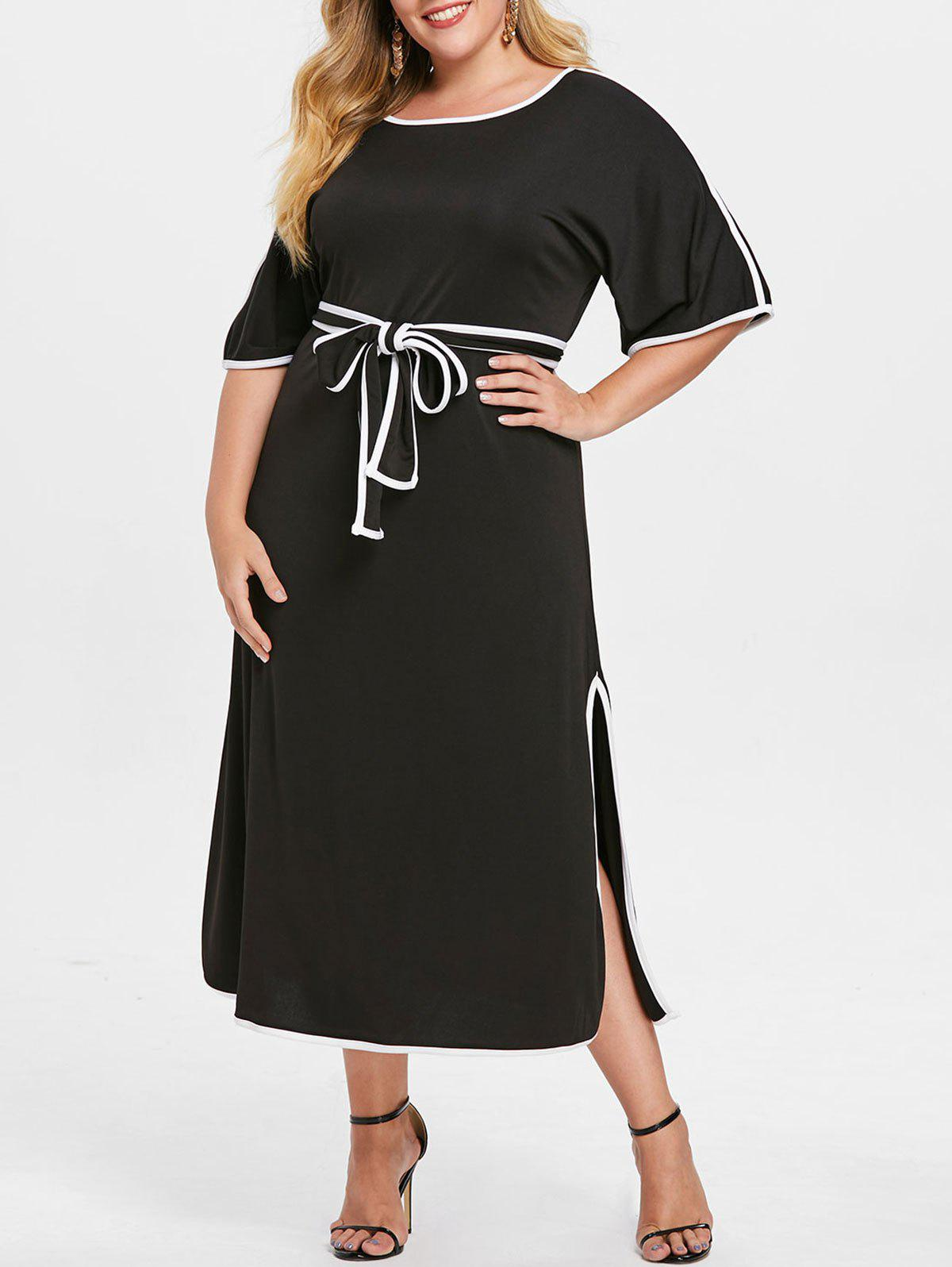 Outfits Contrasting Trim Plus Size Mid Calf Dress with Belt
