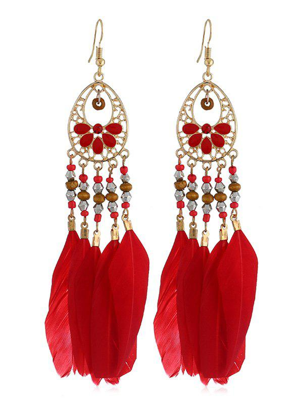 Outfits Boho Beaded Feather Drop Earrings