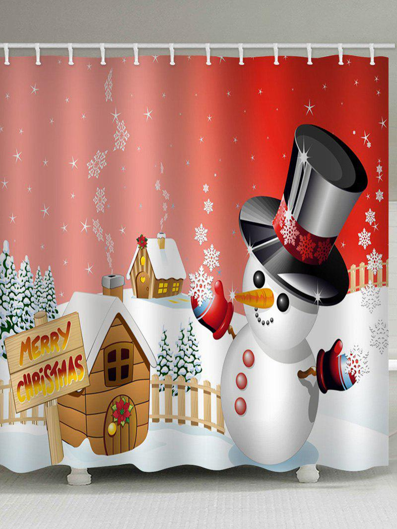 Sale Merry Christmas Snowman Pattern Waterproof Shower Curtain
