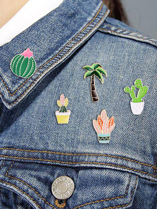 New Cactus Potted Plant Brooch Set
