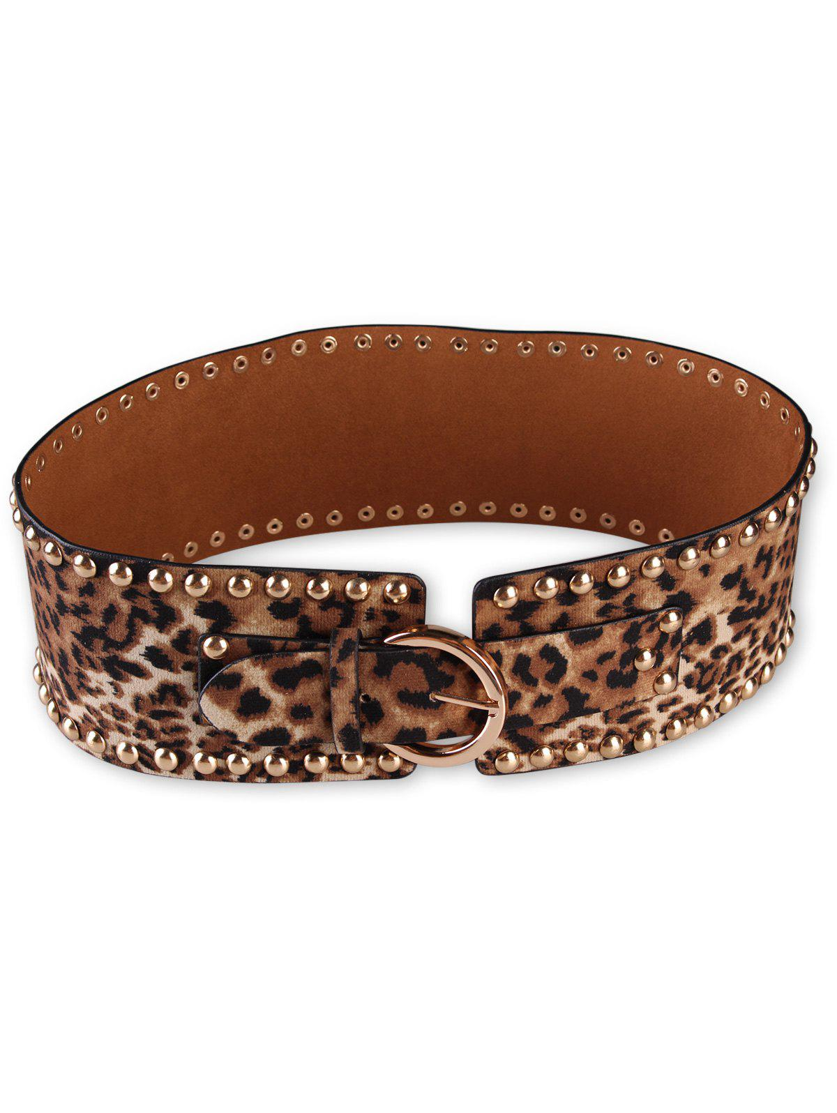 Fancy Metal Buckle Rivets Leopard Wide Belt