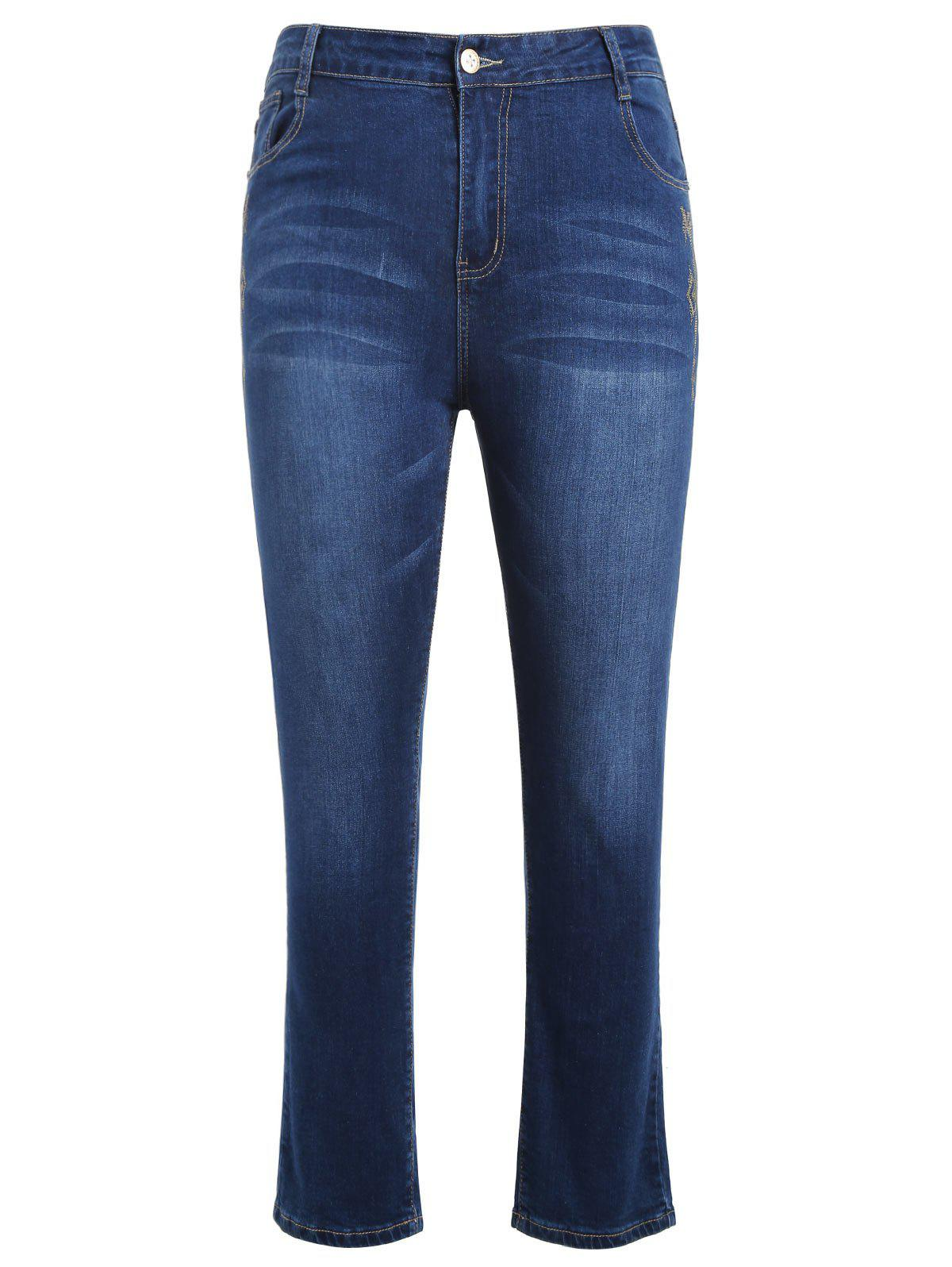 Hot Plus Size Zipper Fly Jeans with Embroidered