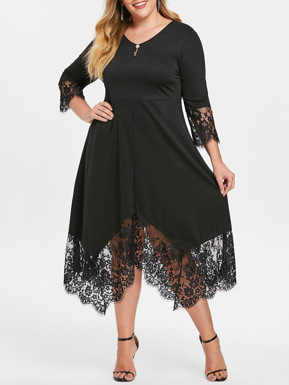 Trendy Plus Size Tie V Neck Dress with Lace Trim