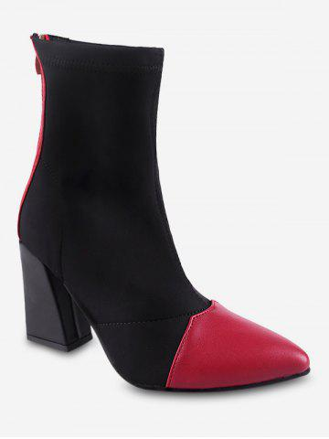Color Block Mid Chunky Heel Short Boots