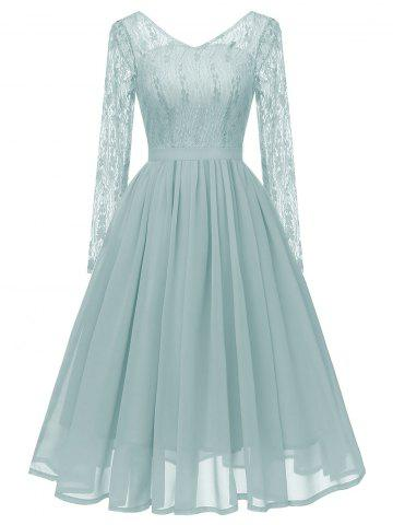V Neck Long Sleeves Lace Panel Dress