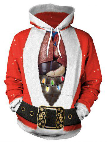 Santa Suit and Heart Print Christmas Pullover Hoodie