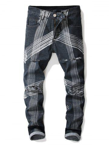 Abstract Lines Pattern Destroyed Straight Leg Jeans