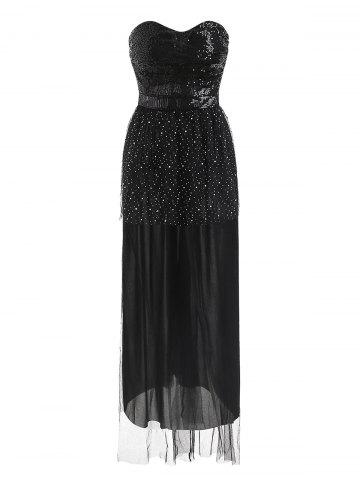 Sequined Bandeau Padded Maxi Evening Dress