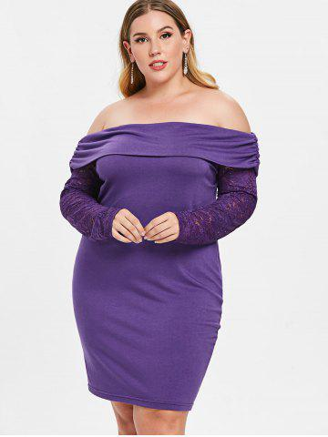 Plus Size Off Shoulder Bodycon Dress with Lace