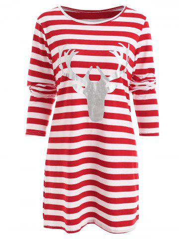 Christmas Elk Head Print Striped Dress