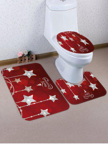 Christmas Crystal Star 3 Pcs Toilet Mat Set