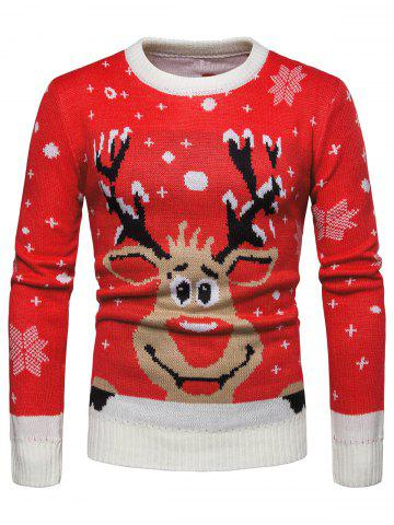 Christmas Reindeer Print Pullover Sweater
