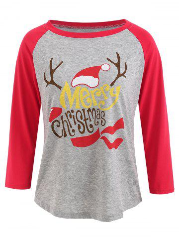 Raglan Sleeve Christmas Graphic Print Baseball T-shirt