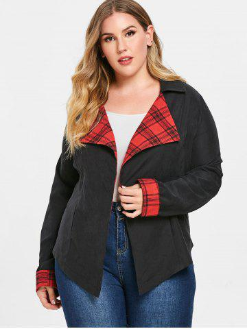 Plus Size Plaid Insert Open Front Jacket