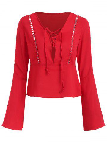 Low V Neck Long Sleeve Blouse