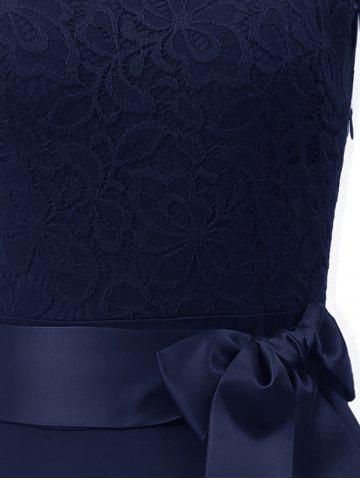 Off Shoulder Lace Panel High Low Dress, Midnight blue