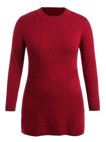 Patterned Plus Size Round Neck Sweater Dress - RED - 2X