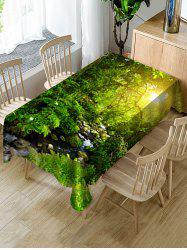 Sunlight Forest Stream Print Fabric Waterproof Tablecloth -