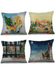 4 Pcs Christmas Themed Print Sofa Linen Pillowcases -